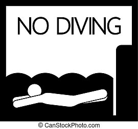 plongée, sauter, non, signe