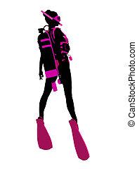 plongée, silhouette, scaphandre, illustration