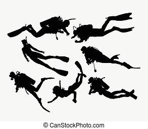 plongée, silhouette, scaphandre, snorkeling
