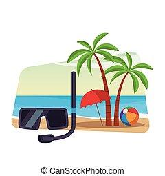 plongée, snorkel, masque