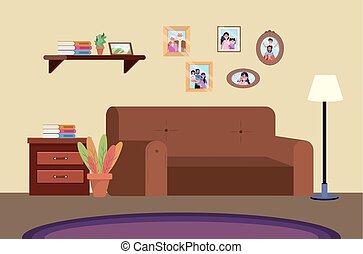 plongée, sofa, salle, famille, images