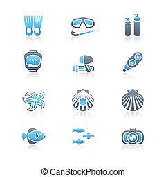 plongée sous-marine, icônes, |, marin, série