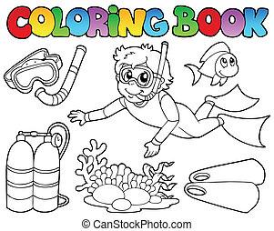 plongée, thème, livre coloration