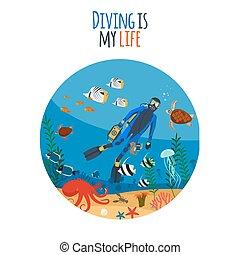 plongée, vie, mon, illustration