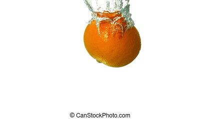 plonger, orange, eau