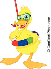 plongeur, canard, pouce haut, dessin animé