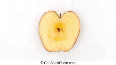 plonsen, appel, witte , het vallen, leugen, vertragen, een,...