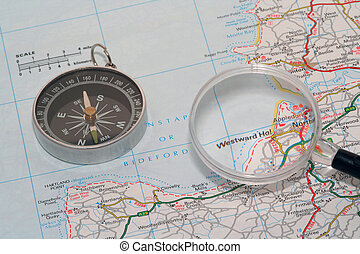 Plot a Course - map, compass and magnifying glass