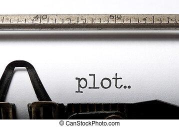 Plot printed on a vintage typwriter