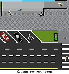 Plot road, highway, street, with the store. With a variety of cars in the parking lot. The intersection and parking cards. Top view of the highway illustration