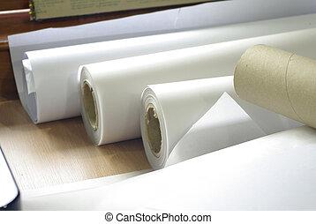 plotter, imprimindo, rolo papel
