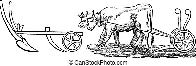 Plough vintage engraving - Plough, vintage engraving. Old...