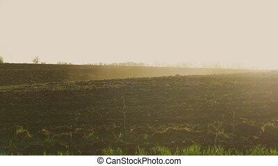 ploughed, красный, глина, почва, сельское хозяйство, поля,...