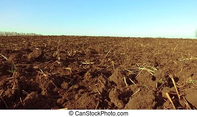 ploughed field and blue the sky steadicam motion...