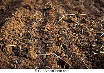 Ploughed field, soil close up, agricultural background