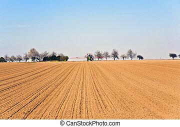 ploughed, fila, árvores, freshly, acre
