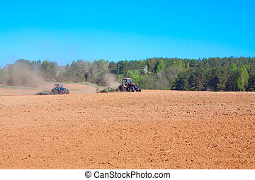 Ploughing tractor
