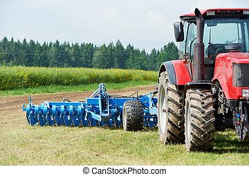 ploughing, trator, em, campo, cultivo, trabalho