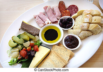 Ploughmans Lunch antipasto style platter including, crusty...