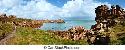 Ploumanach coast spring panorama (Brittany, France)