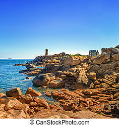 Ploumanach lighthouse morning in pink granite coast, ...