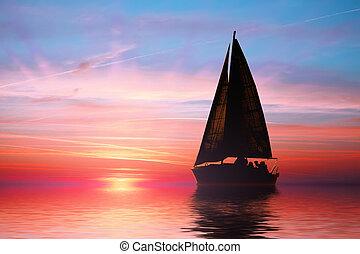 plout ve západ slunce, dále, ta, oceán