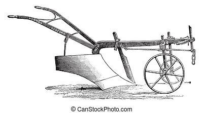Plow Messrs Howard deep tillage, vintage engraving. - Plow ...