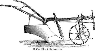 Plow Messrs Howard deep tillage, vintage engraving. - Plow...
