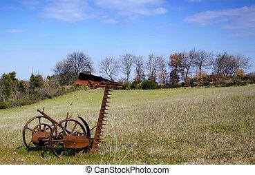 Plow on the field