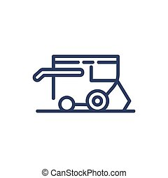 Plow thin line icon. Heavy machine, agricultural equipment ...