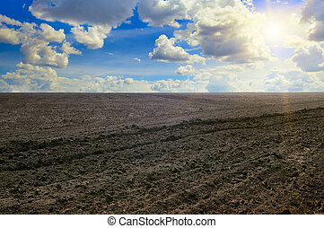 plowed field and cloudy sky
