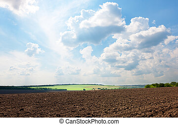 Plowed field under blue sky