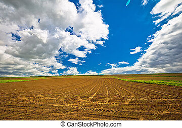 Plowed field under dramatic sky view, agricultural region of...