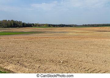 Plowed fields - Lithuania spring plowing fields, prepared ...