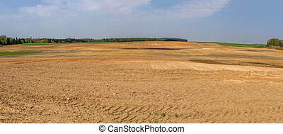 Plowed fields panorama - Lithuania spring plowing fields, ...