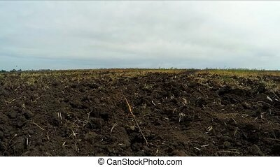 plowed land on the field. Slow motion. - plowed land on the...