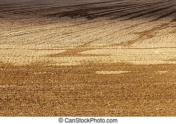plowed soil field