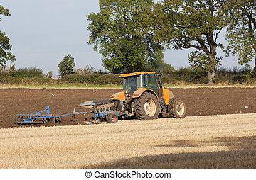 plowing autumn stubble