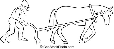 Plowman and horse with plow - outline illustration