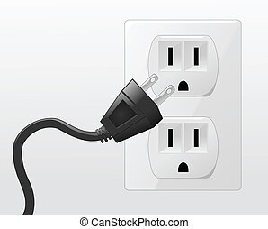 Plug - An illustration of a plug going into an outlet.