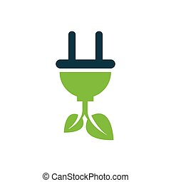 plug and leaf icon vector green