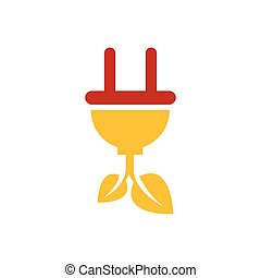 plug and leaf icon vector yellow and red color