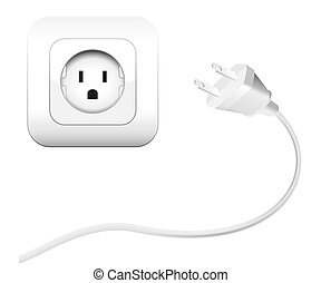 Plug and a socket - NEMA connector %u2013 to connect electrical equipment. Isolated vector illustration on white background.