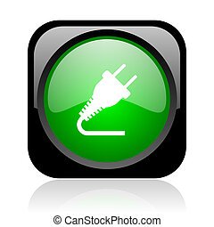 plug black and green square web glossy icon
