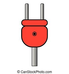 Plug black color icon icon - Plug red and icon vector...