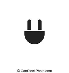 plug black flat vector icon