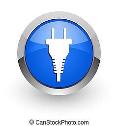 plug blue glossy web icon