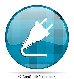 plug blue round modern design internet icon on white background