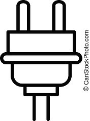 Plug cable icon, outline style - Plug cable icon. Outline...