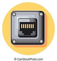 plug circle icon with shadow